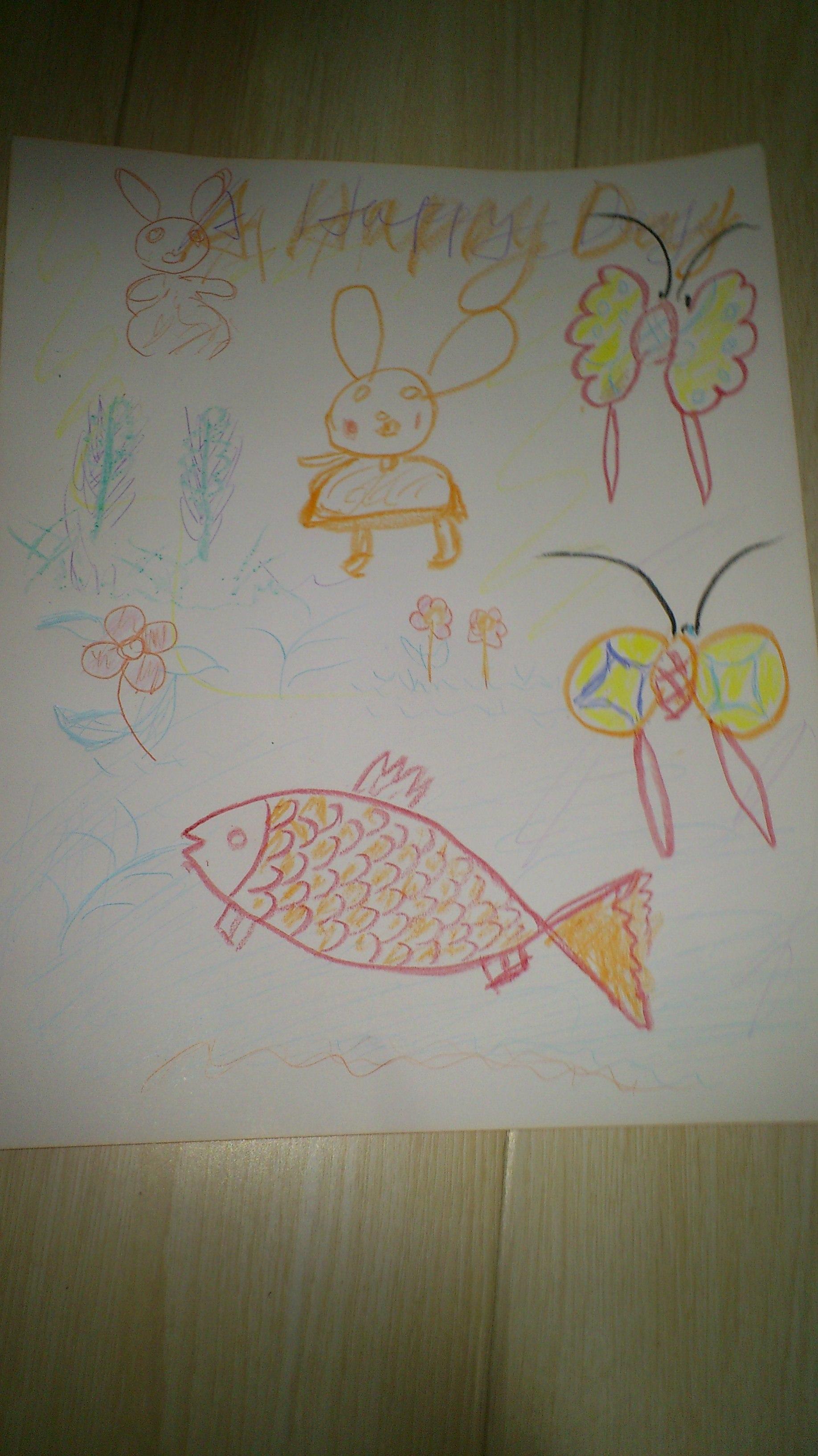分享到       希希 作品名:快乐的一天 作品描述:宝宝刚刚接触画画