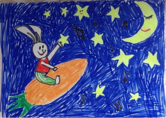 月亮上的兔子儿童画